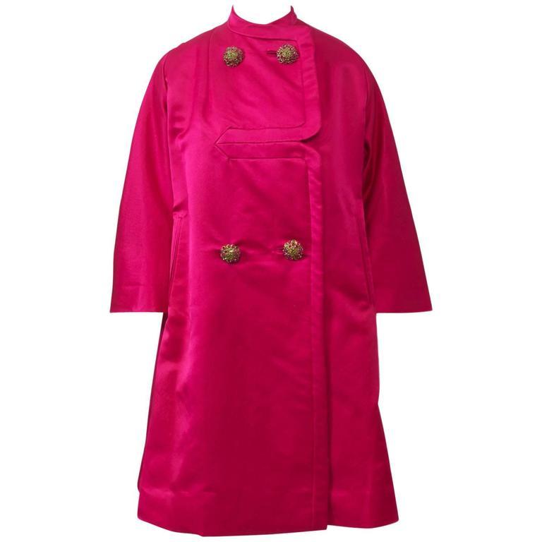Cerise Silk Evening Coat