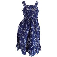 1980s Blu White Flower Dress