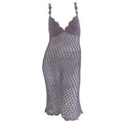 1990s Replay knitwear light purple handmade see through dress
