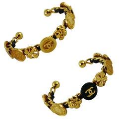 Chanel Vintage Rare Interwoven Gold Chain & Black Leather Coin Bracelet Set