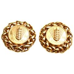 Oversized Signed CHANEL Wheat Earrings