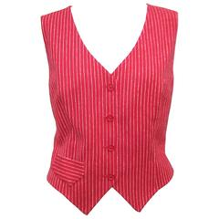 1970's Young Pendleton Red Pinstripe Wool Waistcoat Vest