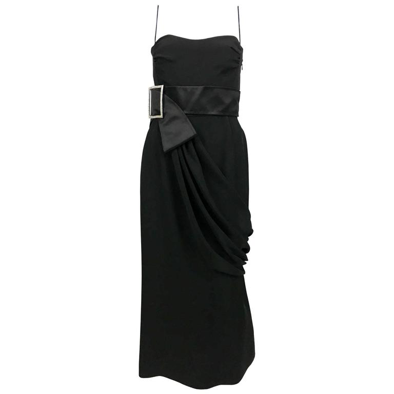 Valentino Silk-Blend Black Evening Dress With Buckle Details - 21st Century For Sale