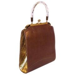 Stylecraft 1950's Leather & Gold Textured Vinyl Handbag