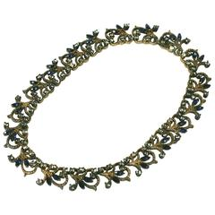 Silver Gilt Faux Sapphire and Crystal Pave Collar
