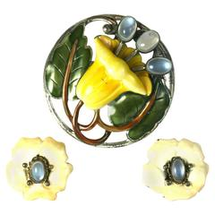 Sterling and Enamel Moonstone Lily Suite