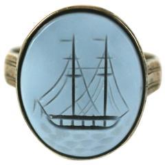 Victorian Agate Intaglio Ship Ring