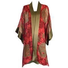 1970s Holly's Harp Vintage Dress and Kimono Red + Chartreuse Amazing Boho Set