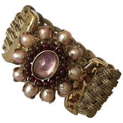 Goossens Paris Baroque Pearl, Garnet, and Rock Crystal Braided Bracelet