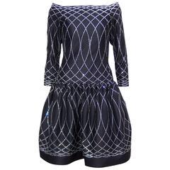 Art Deco Inspired 1970's Arnold Scaasi Crystal Embellished Black Dress