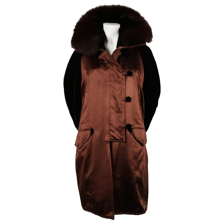 1990's CHRISTIAN LACROIX haute couture silk quilted parka coat with fox fur