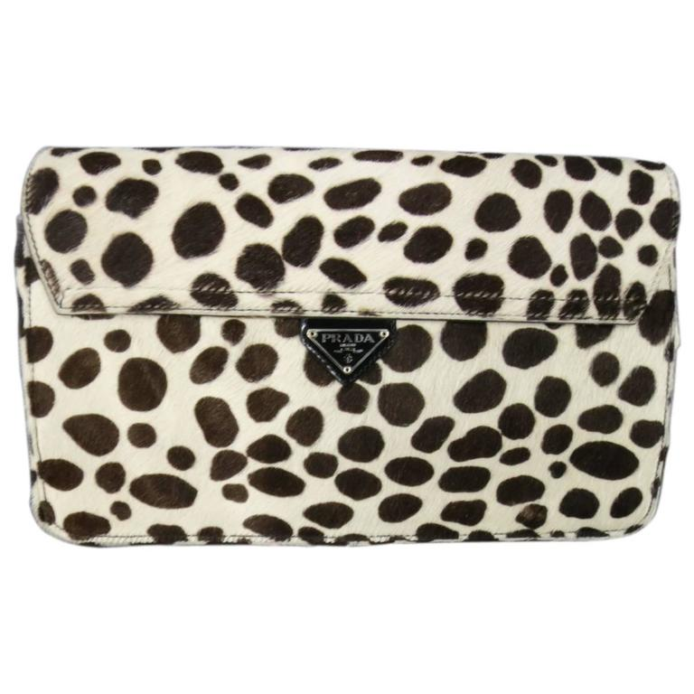 8fabca769834 PRADA Brown & White Sotted Animal Print Pony Hair Shoulder Bag Clutch For  Sale