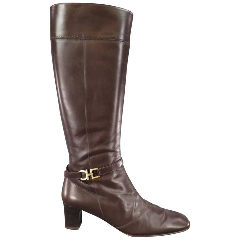 SALVATORE FERRAGAMO Boutique Size 7.5 Brown Leather Gold Gancio CalfBoots
