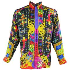 Gianni Versace Shirt - Vintage - Multicolor Silk Mardi Gras Crucifix Cross