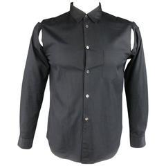 COMME des GARCONS M Black Cotton Red Plaid Slit Long Sleeve Shirt 2013