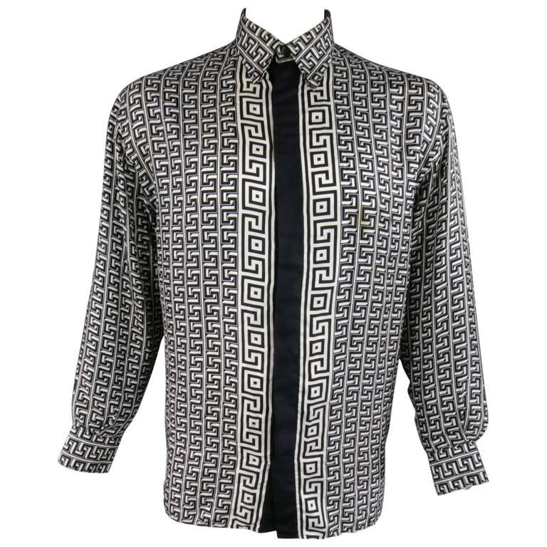 e6b6960da VERSACE CLASSIC V2 Size M Black & White Geometric Print Silk Long Sleeve  Shirt For Sale