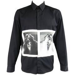 Men's GIVENCHY Size L Black & White X-Ray Graphic Fall 2013 Dress Shirt