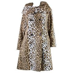 Moschino Leopard Print Coat with Portrait Collar