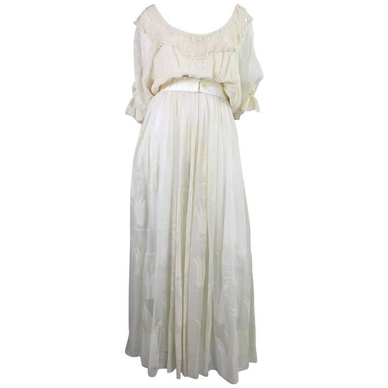 1970's Zandra Rhodes Field of Lilies Chiffon Gown