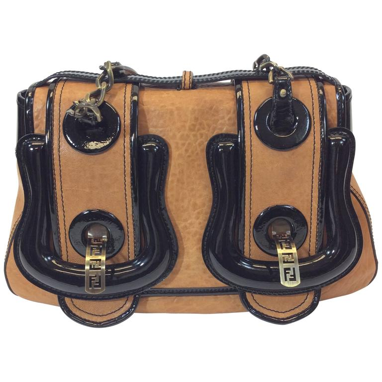 c07627a01398 Fendi Black Patent and Brown Leather B Buckle Bursa Shoulder Bag For Sale