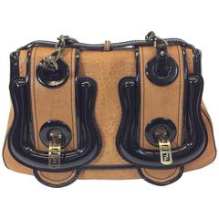Fendi Black Patent and Brown Leather B Buckle Bursa Shoulder Bag