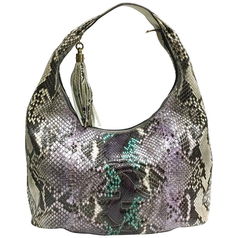 a06a2ecf9254 GUCCI Purple Beige Multicolor Python Soho Large Hobo Bag at 1stdibs