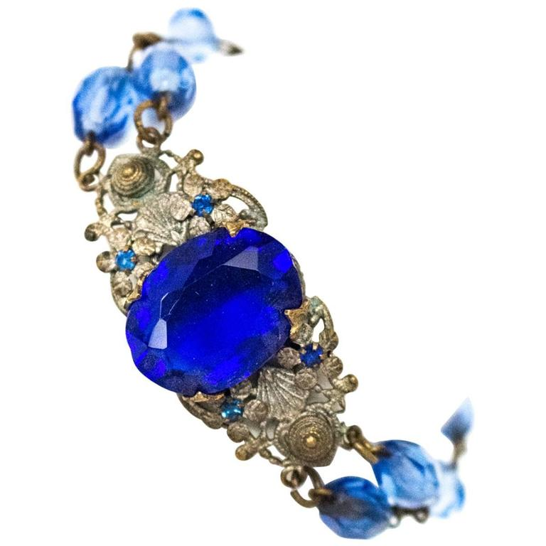 20s Blue Glass Art Nouveau Bracelet  1