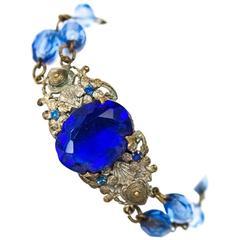 20s Blue Glass Art Nouveau Bracelet