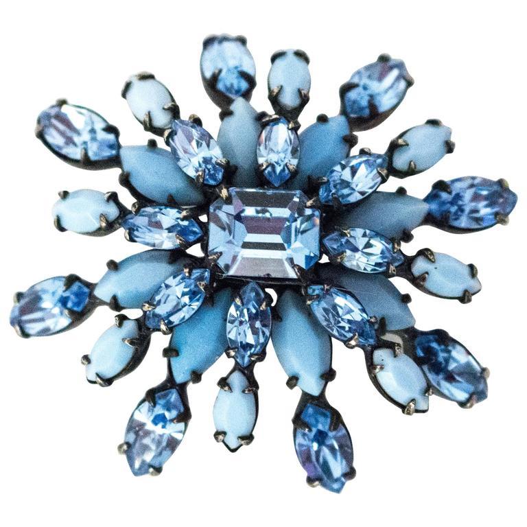 60s Schreiner New York Blue Glass Gemstone Brooch For Sale
