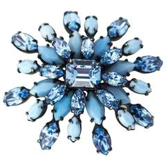 60s Schreiner New York Blue Glass Gemstone Brooch