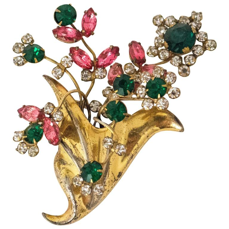 1940s Bouquet Brooch For Sale