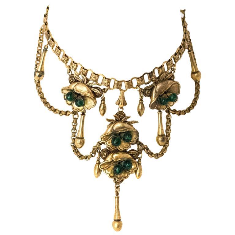 30s Floral Art Nouveau Necklace 1