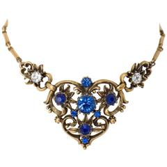40s Coro Blue Crystal Necklace