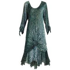 Vintage HOLLY HARP Green Metallic Velvet Burn Out Flapper Style 80s Dress