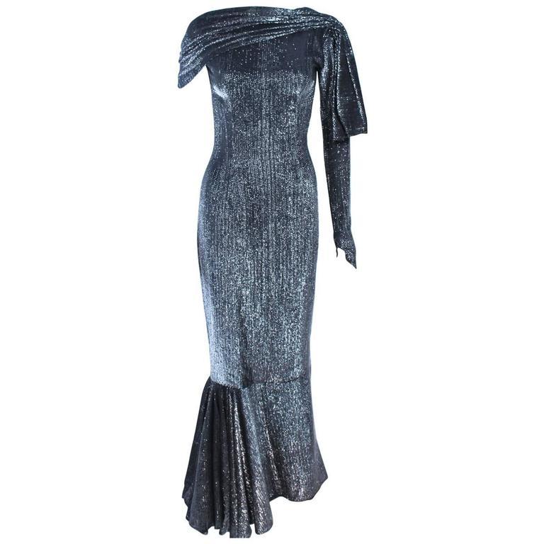 Vintage Black & Silver Metallic Draped Asymmetrical Gown Size 2