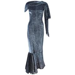 Vintage Black & Silver Metallic Draped Asymmetrical Gown Size 2