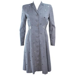 KAY COLLIER Grey Wool Coat Dress with Sequin Applique Size 2 4