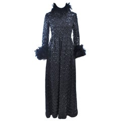 AMELIA GRAY Black Sequin Gown with Feather Trim Size 2 4