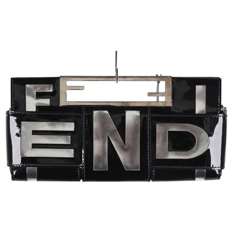 FENDI Black Patent Leather CROSSWORD CLUTCH BAG Handbag 1