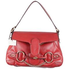 GUCCI Red Leather HORSEBIT Shoulder Bag TOM FORD ERA Handbag