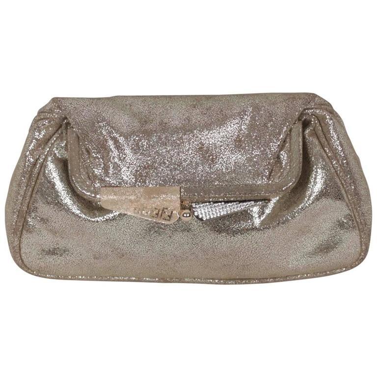 b9060b93e1 FENDI Metallic Leather CLUTCH Handbag EVENING BAG Purse w/ RHINESTONES For  Sale