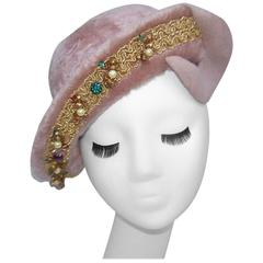 Precious 1940's Henry Pollak Mauve Faux Fur Wool Hat With Embellished Brim