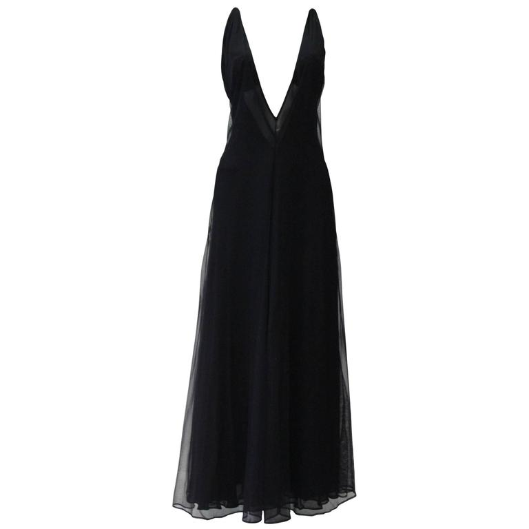 Early Tom Ford For Gucci Black Silk And Tule Maxi Dress 1998's