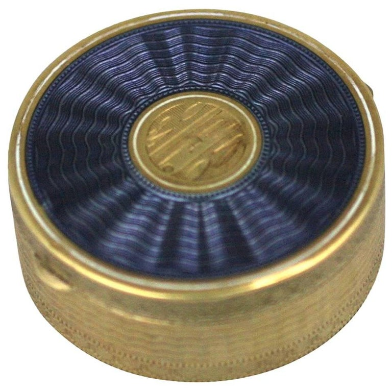 Gold and Enamel Deco Compact