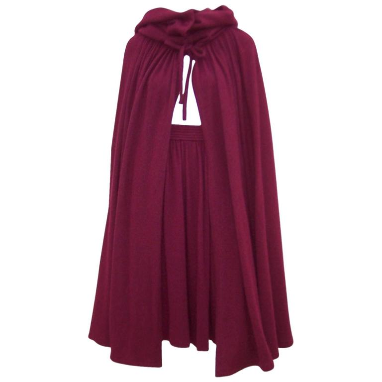 Dramatic 1970's Valentino Aubergine Angora Wool Sweater Cape With Skirt For Sale