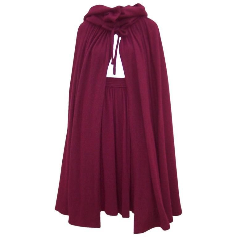 Dramatic 1970's Valentino Aubergine Angora Wool Sweater Cape With Skirt 1