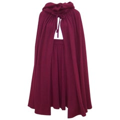 Dramatic 1970's Valentino Aubergine Angora Wool Sweater Cape With Skirt