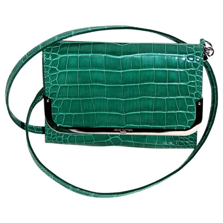 """LOUIS VUITTON """"Rossmore"""" PM Model Green Exotic Leather Clutch - CITES"""