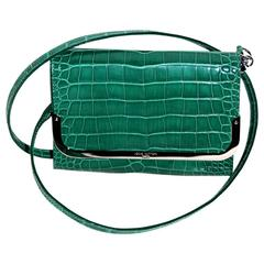 "Louis Vuitton PM Model Green ""Rossmore"" Leather Clutch"
