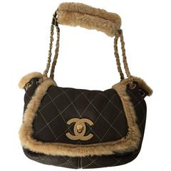 Rare and Chic Chanel Brown Quilted Suede and Shearling Flap Bag